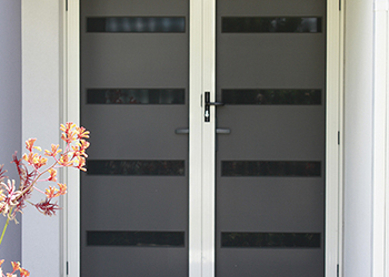 Double entrance doors with mesh security