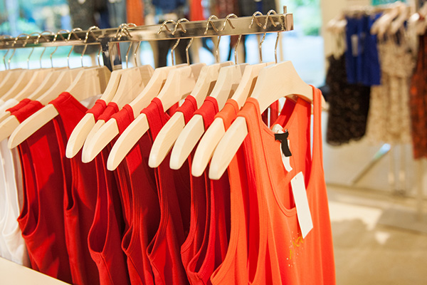 Row of red cotton shirts