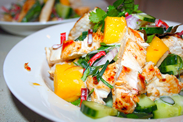 Kaffir lime chicken with mango salad