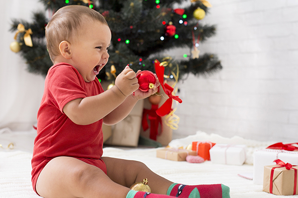 Baby yelling at Christmas decoration
