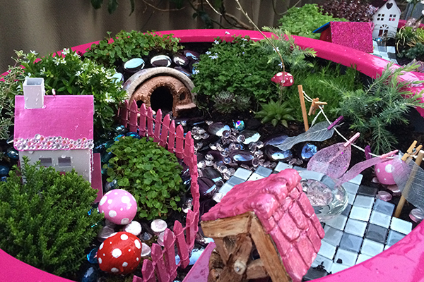 Pink fairy garden in a container