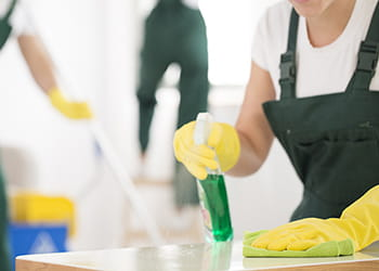 Team of cleaners cleaning home