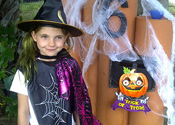young girl dressed for halloween