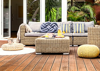 Outdoor deck with an outdoor setting