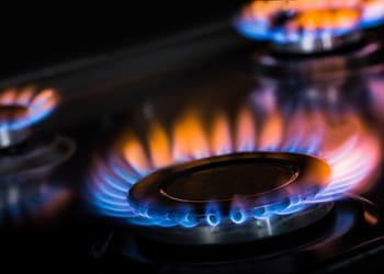 Blue and orange gas hob flame