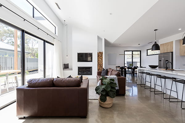 modern kitchen with polished concrete floors