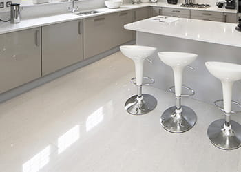 Kitchen with porcelain floor tiles