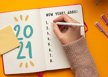 Hand writing 2021 New Years List