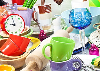Collection of op-shop kitchenware