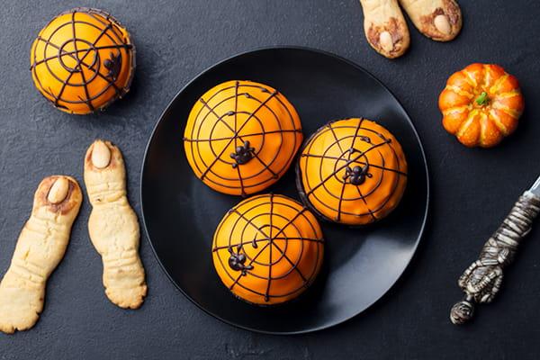 Orange and spider cupcakes