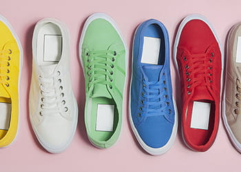 Row of colourful sneakers