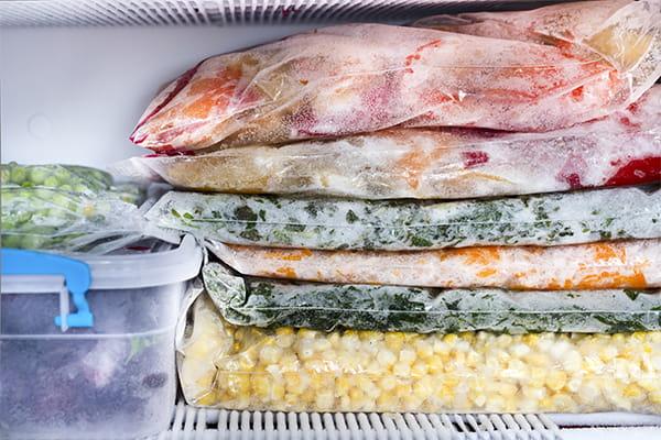Frozen food in freezer bags