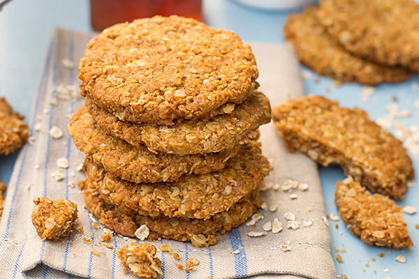 A stack of ANZAC biscuits