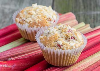 Rhubarb muffins sitting on rhubarb