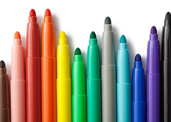 Brightly coloured felt tip pens