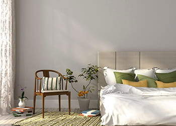 Bedroom with newly painted wall - Painting & Decorating Services