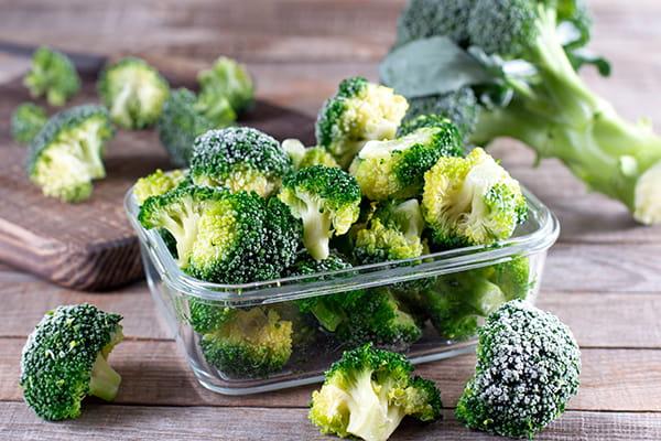 Frozen broccoli a container