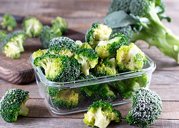 Frozen broccoli a container