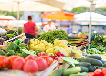 Fruit and vegetables at a farmers market stall