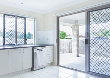 Kitchen with security screens and doors