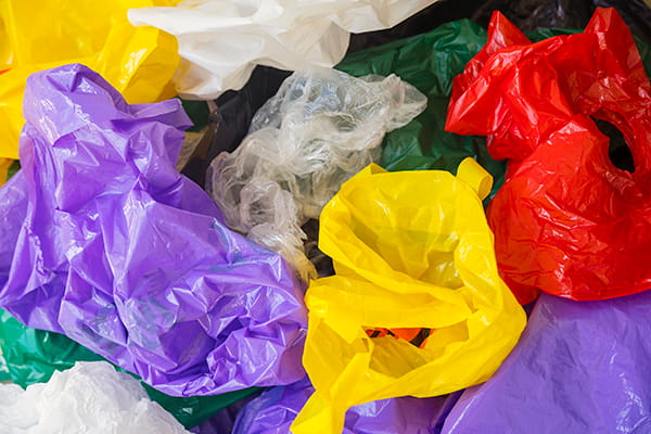 Brightly coloured, soft, scrunchable plastic bags