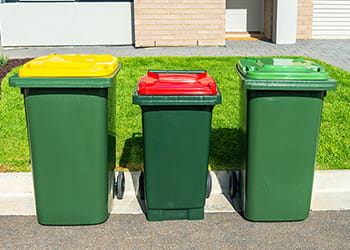 Different colour topped wheelie bins