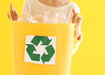 Yellow recycle bottles