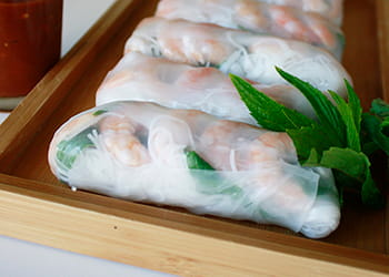 Pork and rice paper rolls