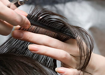 Hairdresser trimming hair