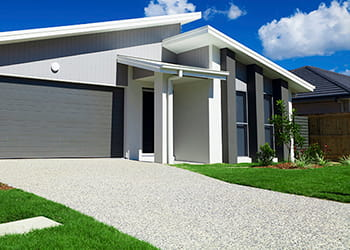 Home with concrete driveway