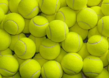 Pile of yellow tennis balls