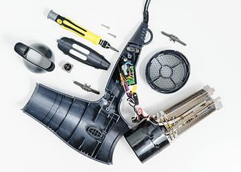 dismantled hair dryer