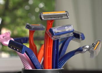 Used disposable razors