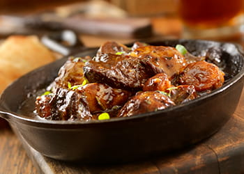 Flemish beef stew in a bowl