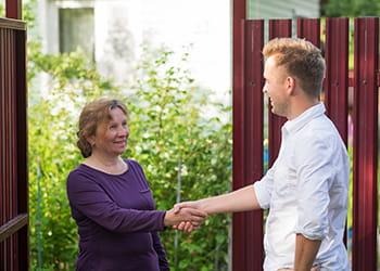 Young man meeting a neighbour