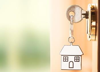 House key in door