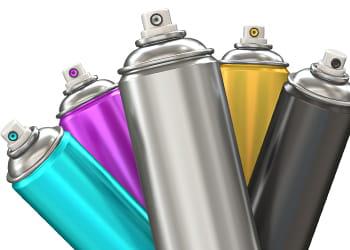 Multi-coloured aerosol cans