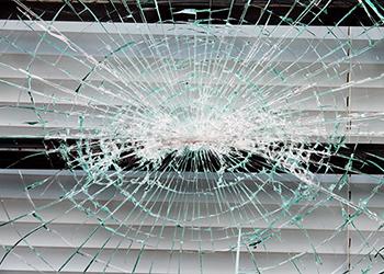 Broken glass window