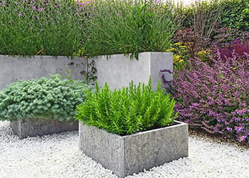 Contemporary garden with a raised garden bed