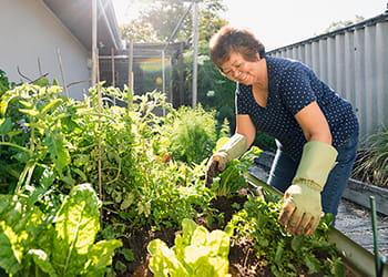 woman tending to a thriving vegetable garden