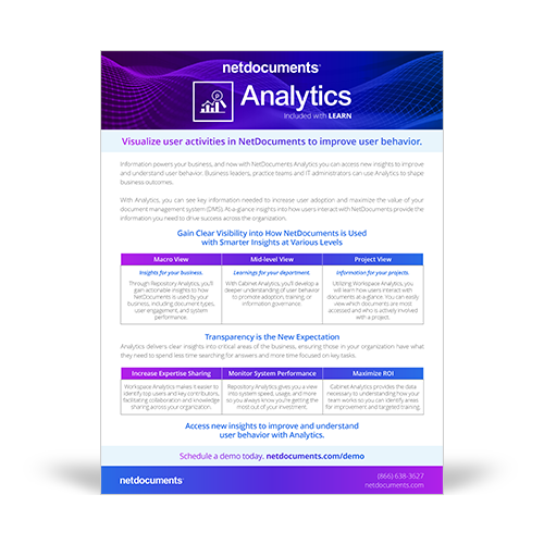 Graphic for NetDocuments Analytics brochure