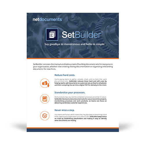 Graphic for the brochure from NetDocuments' SetBuilder.