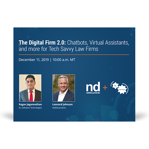 Graphic for webinar event hosted by Ragav Jagannathan of KL Software Technologies and Leonard Johnson of NetDocuments discussing chatbots for law firms.