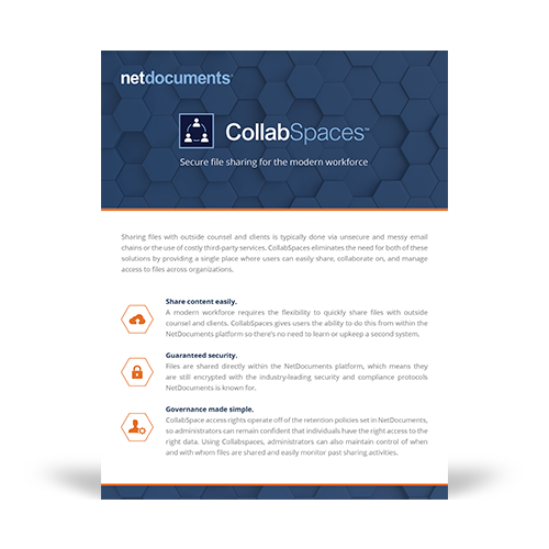 Product brochure graphic covering the NetDocuments CollabSpaces technology add-on for the Deliver Solution