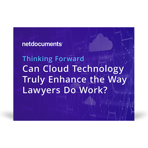 Graphic for webinar event hosted by NetDocuments discussing cloud technology for lawyers