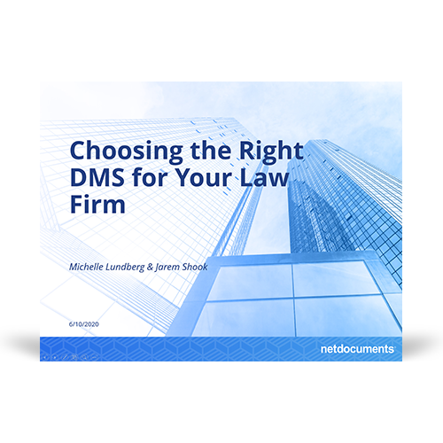 Graphic for the webinar discussing choosing the right dms for a law firm; a skyscraper towers over the title of the webinar.