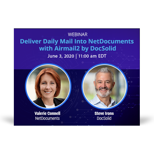 Webinar graphic hosted by NetDocuments and DocSolid discussing Airmail2 delivery software