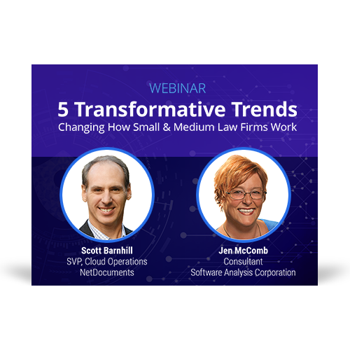 Graphic for the webinar event hosted by Scott Barnhill of NetDocuments and Jen McComb of Software Analysis Corporation discuss moving to the cloud.