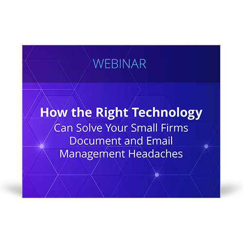 Graphic for webinar event hosted by NetDocuments discussing technology solving document and email headaches for law firms