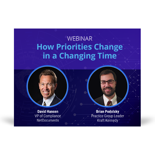 Graphic for webinar with speakers David Hansen of NetDocuments and Brian Podolsky of Kraft Kennedy